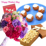 Cashew Treat - 15 Mix Carnations in Bunch, 250 gms Motichur Laddu, Cashew 200 gms Box and Card