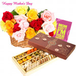 Charming Mom - 15 Mix Flowers Basket, 500 gms Assorted Sweets and Card