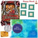 Cheerful Hamper - Ganesha Frame, Celebration with 4 Diyas and Laxmi-Ganesha Coin