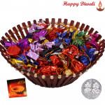 Big Time Gift - Assorted Handmade Choclolates in Decorative Basket with Laxmi-Ganesha Coin