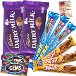 Choco Blast - 2 Cadbury Dairy Milk (L), 3 Perk, 3 Five Star, 2 Gems & Card