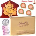 Choco Carnival - Lindt Swiss Thins Chocolate, Ganesha Wooden Slab with 4 Diyas and Laxmi-Ganesha Coin