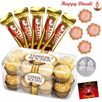 Choco Gold - Ferrero Rocher 16 pcs, 5 Five star with 4 Diyas and Laxmi-Ganesha Coin