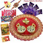 Choco Designer Thali - 5 Dairy Milk, 2 Kitkat, 1 Gems, Designer Ganesh Thali with 1 Kids Rakhi, 1 Fancy Ralhi and Roli-Chawal