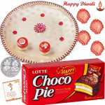 Choco Magic Thali - Chocopie, Puja Thali (W) with 4 Diyas and Laxmi-Ganesha Coin