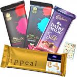 Choco Treat - 2 Bournville, 1 Temptations, 1 Cadbury Dairy Fruit n Nut & Card