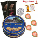 Choco & Cookies - Danish Cookies, 2 Bournville with 2 Diyas and Laxmi-Ganesha Coin