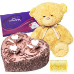 Choco with Teddy - Heart Shaped Chocolate Cake 1 kg + Teddy 6 inch + Celebrations + Card