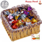 Wonderful Treat - Assorted Handmade Choclolates in Decorative Basket with Laxmi-Ganesha Coin