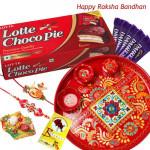 Chocolate Tray - Meenakari 6 inch, Chocopie, 5 Dairy Milk with 2 Fancy Rakhis and Roli-Chawal