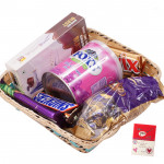 Chocolates Toffee Basket -  1 Pack of Chocolairs, 1 Cadbury Dairy Milk Silk, 1 Snickers, 1 Twix, 1 Pack of Choco Blast, Fox Crystal Clears Tin & Card