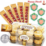 Chocolates for You - Ferrero Rocher 16 pcs, 5 Toblerone, 4 Diyas, Silver Plated Coin and Card