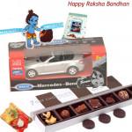 Chocolates with Car - 7 Day Chocolate Pack + Welly Mercedes Benz + 1 Cute Krishna Rakhi + Card