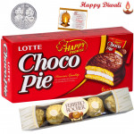 Chocopie with Ferrero Rocher - Chocopie, Ferrero Rocher 4 pcs with Laxmi-Ganesha Coin