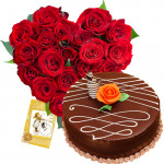 Heartful Combo - 30 Red Roses Heart + Chocolate Cake 1kg + Card