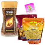 Coffee Time Crisp - Nescafe Gold Premium Imported Coffee, 2 Haldiram Namkeen and Card
