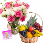 Colorful Basket - 15 Pink & White Roses in Vase, 4 kg Mix Fruits Basket and Card