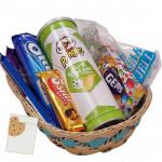 Cookie Basket -  Oreo Cookies, 1 Gems, 1 Perk, 1 5 Star, 1 Cadbury Dairy Milk Crackle, Pringles Wafers, Mix Jelly & Card