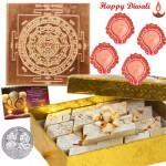 Copper Gift - Copper Sri Yantra, Kaju Katli with 4 Diyas and Laxmi-Ganesha Coin
