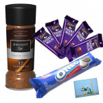 Correct Coffee Combo - Davidoff Cafe 57 Espresso Dark Roast, Oreo Cookies 140 gms, 5 Dairy Milk and Card