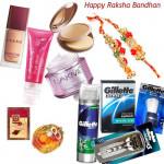 Cosmetic Hamper - Gillette Shaving Kit + Lakme Total Care with Bhaiya Bhabhi Rakhi Pair and Roli-Chawal