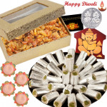 Crispy Nuts - Raisin 200 gms, Kaju Pista Roll 250 gms, Ganesha Wooden Slab with 4 Diyas and Laxmi-Ganesha Coin