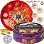 Crunchy Choco Thali - Danish Butter Cookies, Meenakari Thali 6 inch with 4 Diyas and Laxmi-Ganesha Coin