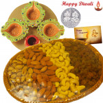 Crunchy Delight - Assorted Dryfruits Basket 400 gms, 4 Diyas on Tray with Laxmi-Ganesha Coin