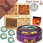 Deepavali Celebration - Assorted Dryfruits 200 gms, Danish Cookies with 4 Diyas and Laxmi-Ganesha Coin