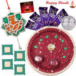 Deepavali Choco Thali - 5 Dairy Milk Bars, Puja Thali (M), Ganesha Door Hanging with 4 Diyas and Laxmi-Ganesha Coin