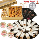 Delicious Present - Kaju Anjeer Roll 250 gms, Assorted Dryfruits 200 gms, 3 Bournville with 4 Diyas and Laxmi-Ganesha Coin
