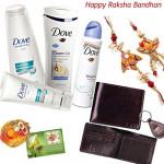 Delightful Hamper - Dove Shine Hamper + Slim Leather Wallet with Bhaiya Bhabhi Rakhi Pair and Roli-Chawal