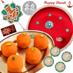 Designer Sweets Thali - Kanpuri Laddoo 250 gms, Puja Thali (R), Ganesha Door Hanging with 4 Diyas and Laxmi-Ganesha Coin