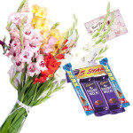 Divine Combo - 18 Mix Orchids Vase + 5 Assorted Bars + Card