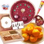 Delightful Gift Combo - Puja Thali (M), Kesar Penda 250 gms, Assorted Dryfruits, Roli Chawal, Bindi Packet, Mehndi Cone and Card