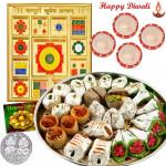 Divine Hamper - Sampurna Kuber Yantra, Assorted Sweets with 4 Diyas and Laxmi-Ganesha Coin