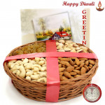 Assorted Dryfruits in Basket with Laxmi-Ganesha Coin