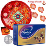 Diwali Choco Thali - Cadbury's Rich Dry Fruits, Meenakari Thali 6 inch with 4 Diyas and Laxmi-Ganesha Coin