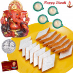 Diwali Shagun - Red Ganesha, Kaju Kesar Katli with 4 Diyas and Laxmi-Ganesha Coin