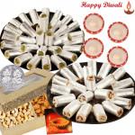 Diwali Sweet Treat - Kaju Pista Roll 250 gms, Kaju Anjir Roll 250 gms, Cashew Almond with 4 Diyas and Laxmi-Ganesha Coin