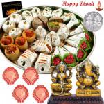 Diwali Sweets Combo - Kaju Mix 250 gms, Laxmi Ganesh Idol with 4 Diyas and Laxmi-Ganesha Coin
