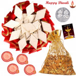 Katli Almond Thali - Kaju Katli 250 gms, Almond in Potli, Decorative Thali with 4 Diyas and Laxmi-Ganesha Coin