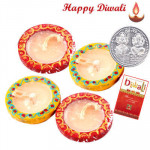 Diya Extravaganza - 4 Wax Filled Diyas with Laxmi-Ganesha Coin