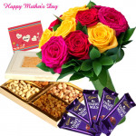 Dry Fruits Delight - 12 Mix Roses in Bunch, 200 gms Assorted Dryfruit, 5 Dairy Milk and Card