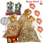 Dry Fruits Potli - Cashew & Almond & Raisin in Potli, Laxmi Ganesh Idol with 4 Diyas and Laxmi-Ganesha Coin