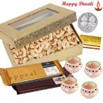 Dry Kaju Treat - Kaju 400 gms, 2 Temptations with 4 Diyas and Laxmi-Ganesha Coin