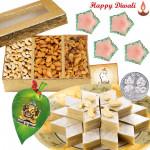 Dry Sweets - Assorted Dryfruits 200 gms, Kaju Katli 250 gms, Ganesha On Leaf with 4 Diyas and Laxmi-Ganesha Coin