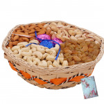 Dryfruit Choco Basket - Assorted Dryfruits in Basket with Handmade Chocolates 1 Kg