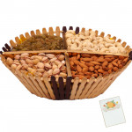 Dryfruit in Stick Basket - Assorted Dry fruits 400 gms in a Decorative Stick Basket & Card