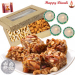 Dryfruit Treat - Dryfruit chikki 250 gms, Cashew Almond 200 gms with 4 Diyas and Laxmi-Ganesha Coin